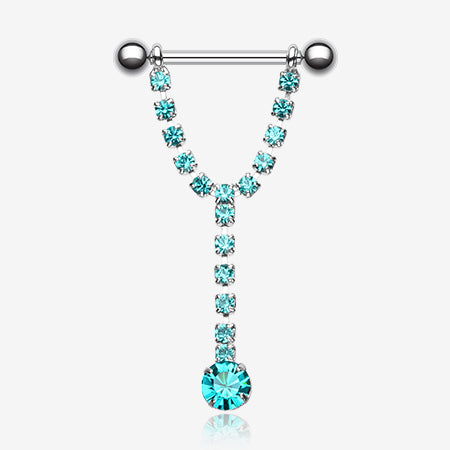 A Pair of Chandelier Gems Nipple Barbell Ring-Teal