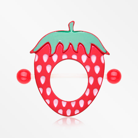 A Pair of Strawberry Delight Bio Flexible Nipple Shield Ring-Red