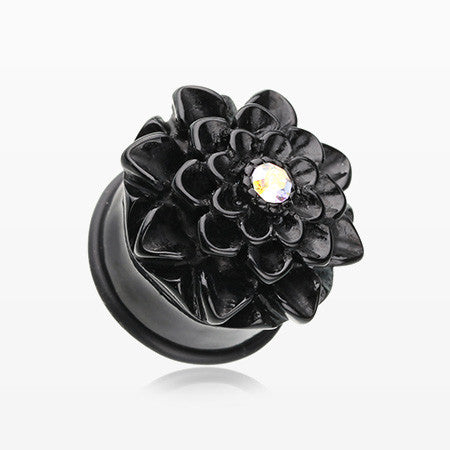 A Pair of Charming Chrysanthemum Single Flared Ear Gauge Plug-Black