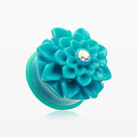 A Pair of Charming Chrysanthemum Single Flared Ear Gauge Plug-Teal