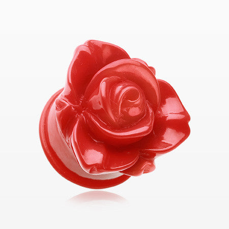 Sold as a Pair Red Rose Blossom Flower Single Flared Ear Plug
