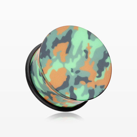 A Pair of Camouflage UV Acrylic Single Flared Ear Gauge Plug-Green