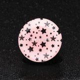 A Pair of Glow in the Dark Multi Star Single Flared Ear Gauge Plug-Pink/Fuchsia