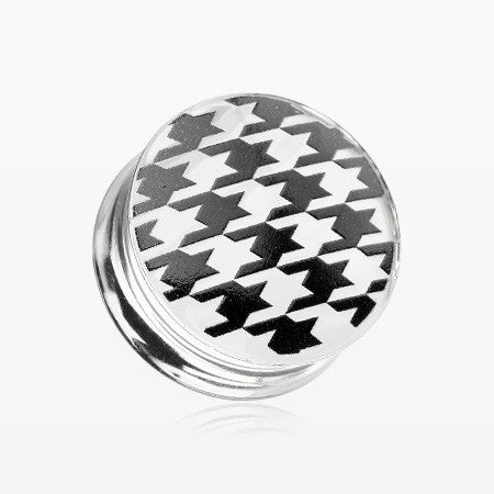 A Pair of Houndstooth Clear UV Double Flared Ear Gauge Plug-Black