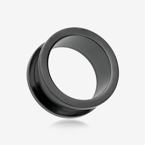 A Pair of Colorline Steel Screw-Fit Ear Gauge Tunnel Plug-Black