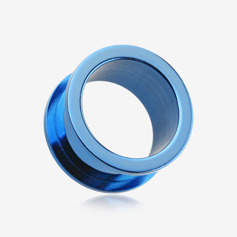 A Pair of Colorline Steel Screw-Fit Ear Gauge Tunnel Plug-Blue