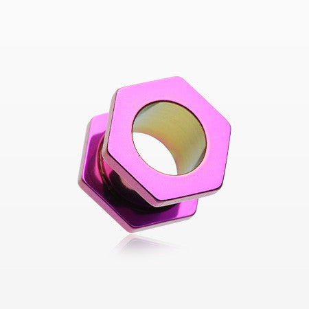 A Pair of Colorline Hexa Bolt Screw-Fit Ear Gauge Tunnel Plug-Purple