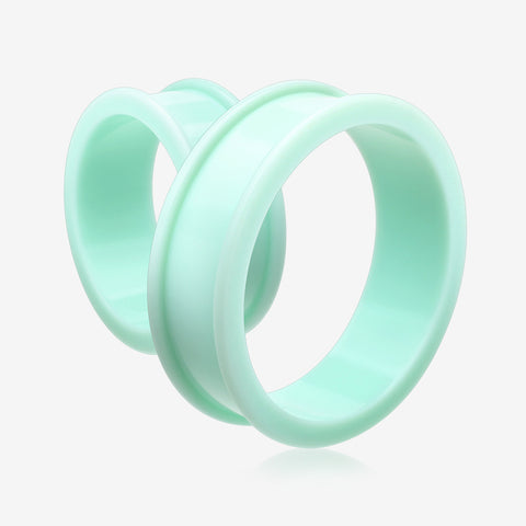 A Pair Of Supersize Soft Pastel Silicone Double Flared Tunnel Plug-Pastel Green
