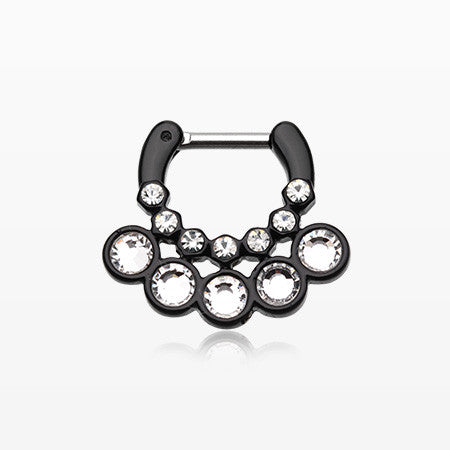 Colorline Aureole Gemina Sparkle Septum Clicker-Black/Clear
