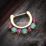 Golden Opalite Sparkle Deuce Septum Clicker Ring-Green/Fuchsia