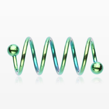 Colorline PVD Quad Twist Spiral Ring-Green