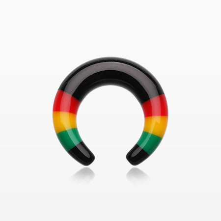 A Pair of Rasta Stripes Acrylic Ear Gauge Buffalo Hanger-Black