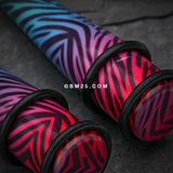 A Pair of Retro Zebra Swagg Acrylic Ear Stretching Taper-Rainbow