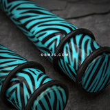 A Pair of Retro Zebra Swagg Acrylic Ear Stretching Taper-Teal