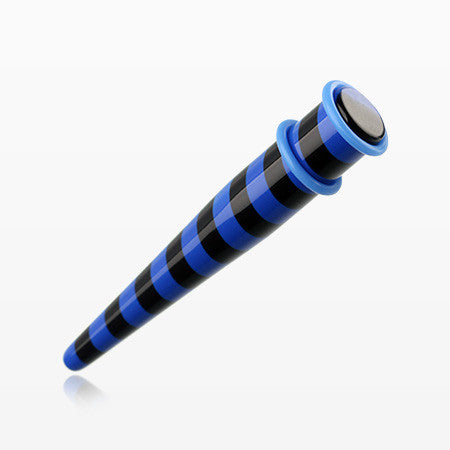 A Pair of Multi Striped Acrylic Ear Gauge Taper-Blue