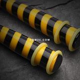 A Pair of Multi Striped Acrylic Ear Gauge Taper-Yellow