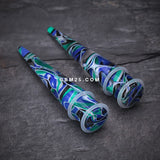 A Pair of Marble Swirl Acrylic Taper-Blue/Green