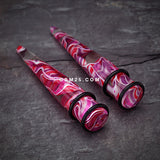 A Pair of Marble Swirl Acrylic Taper-Pink/Purple