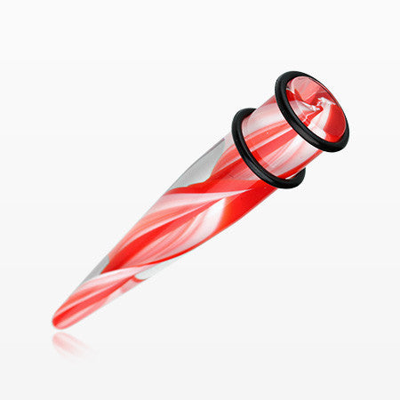 A Pair of Acrylic Swirls Taper-Red