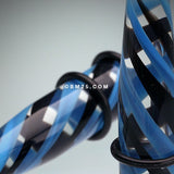A Pair of 2-Toned Candy Swirls Taper-Blue/Black