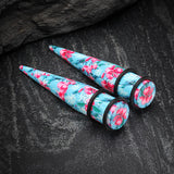 A Pair of Hawaiian Blue Vintage Floral Print Acrylic Ear Stretching Taper