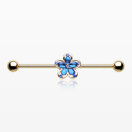 Golden Blue Crystal Flower Sparkle Industrial Barbell-Blue