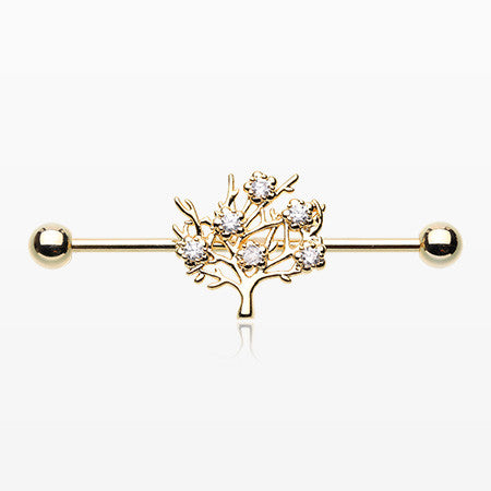 Golden Tree of Life Sparkle Industrial Barbell-Clear