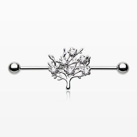 Tree of Life Sparkle Industrial Barbell-Clear