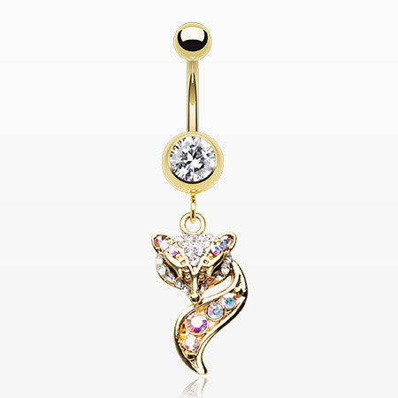 Golden Sparkle Lady Fox Belly Button Ring-Clear/Aurora Borealis