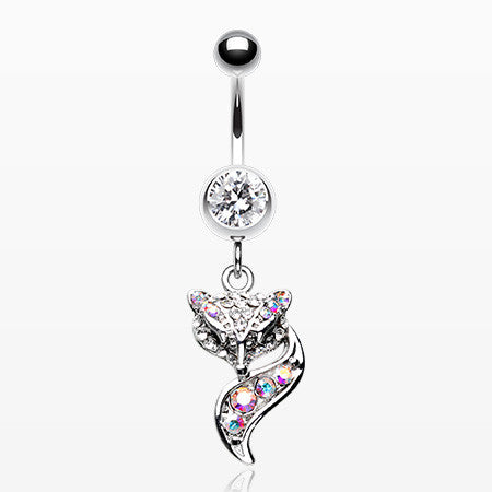Sparkle Lady Fox Belly Button Ring-Clear/Aurora Borealis