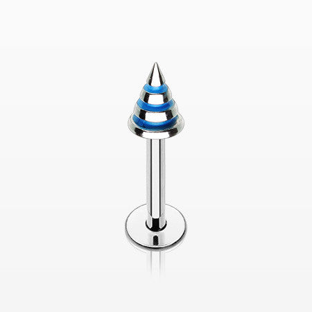 Triple Stripe Spike Steel Labret-Blue