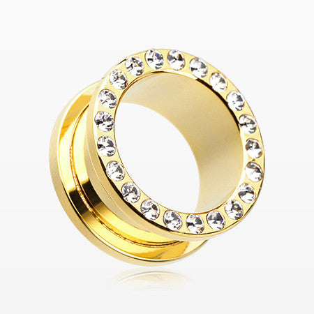 A Pair of Golden Encircle Sparkle Screw-Fit Ear Gauge Tunnel Plug-Clear