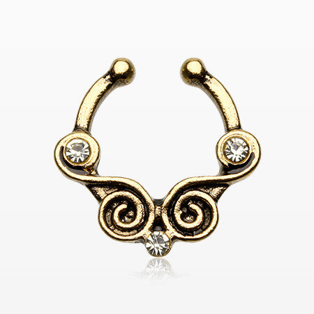 Golden Tribal Kron Sparkle Fake Septum Clip-On Ring-Clear