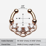 Rose Gold Lua Sparkle Fake Septum Clip-On Ring-Clear