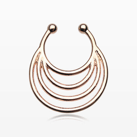Rose Gold Meridian Loop Fake Septum Clip-On Ring-Rose Gold