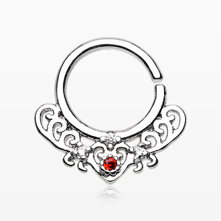 Royal Heart Filigree Sparkle Septum Twist Loop Ring
