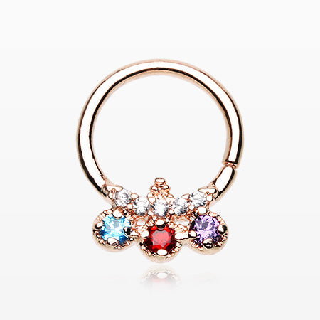 Rose Gold Trilink Multi-Gem Sparkle Septum Twist Loop Ring