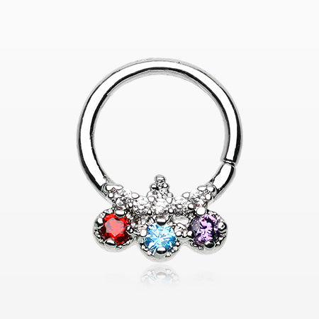 Trilink Multi-Gem Sparkle Septum Twist Loop Ring
