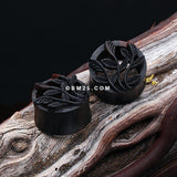 A Pair of Autumn Olive Vine Arang Wood Ear Gauge Tunnel Plug-Black
