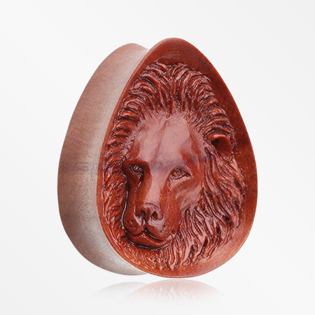 A Pair of Wild Lion Arang Wood Double Flared Teardrop Plug