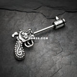 A Pair of Vintage Revolver Gun Nipple Barbell Ring-Steel