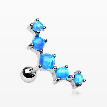 Fire Opal Sparkle Prong Journey Cartilage Tragus Barbell-Blue