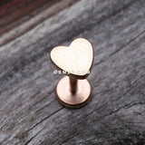 Rose Gold Classic Heart Internally Threaded Steel Labret