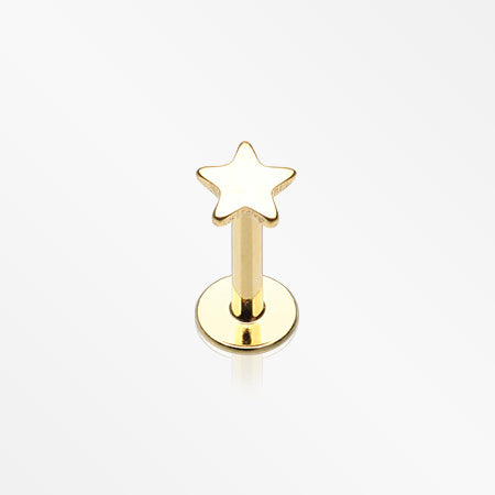 Golden Classic Star Internally Threaded Steel Labret