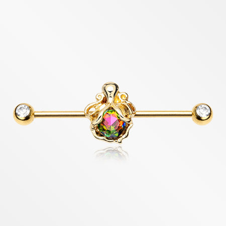 Vitrail Octopus Sparkle Front Facing Gem Industrial Barbell