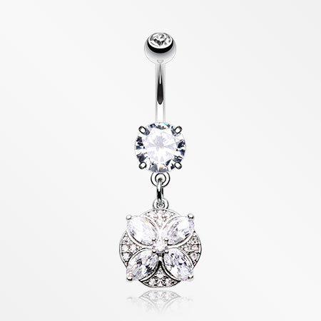 Grand Marquis Floral Sparkle Belly Button Ring-Clear