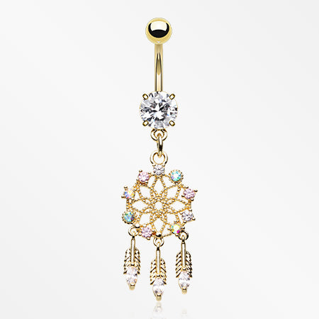 Golden Floral Weave Dreamcatcher Sparkle Belly Button Ring