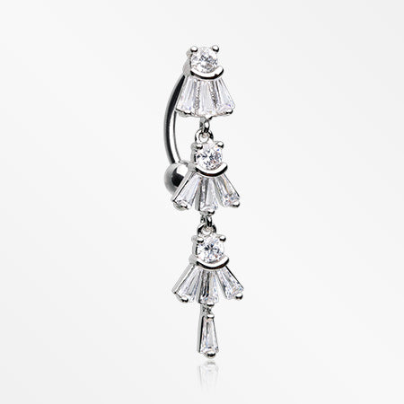 Triple Marquis Sparkle Vogue Reverse Belly Button Ring-Clear