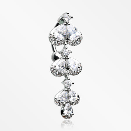 Triple Dew Sparkle Flora Reverse Belly Button Ring-Clear