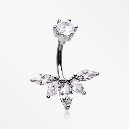 Marquise Floret Sparkle Belly Button Ring-Clear